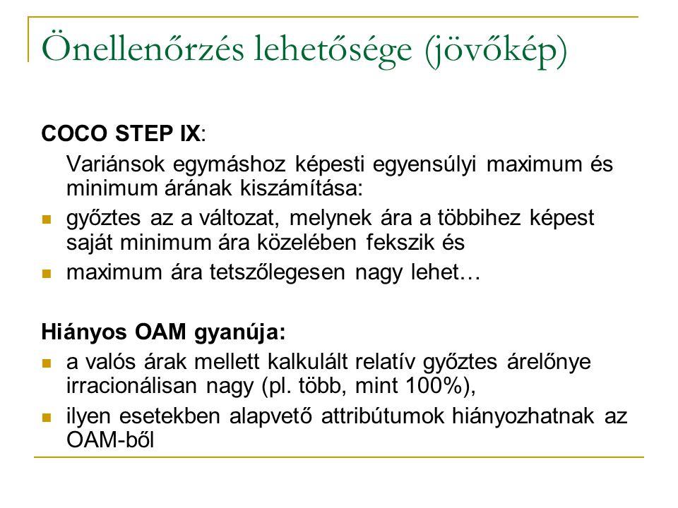 Önellenőrzés lehetősége (jövőkép) COCO STEP IX: Variánsok egymáshoz képesti egyensúlyi maximum és minimum árának kiszámítása: győztes az a változat, melynek ára a többihez képest saját minimum ára közelében fekszik és maximum ára tetszőlegesen nagy lehet… Hiányos OAM gyanúja: a valós árak mellett kalkulált relatív győztes árelőnye irracionálisan nagy (pl.