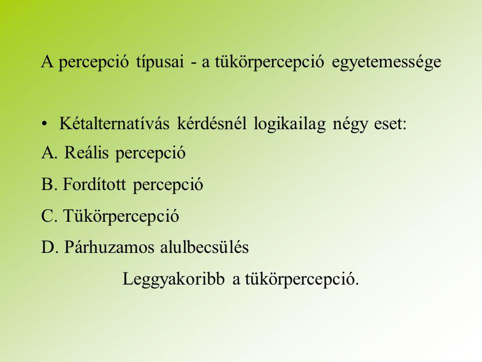 A percepció típusai - a tükörpercepció egyetemessége Kétalternatívás kérdésnél logikailag négy eset: A.