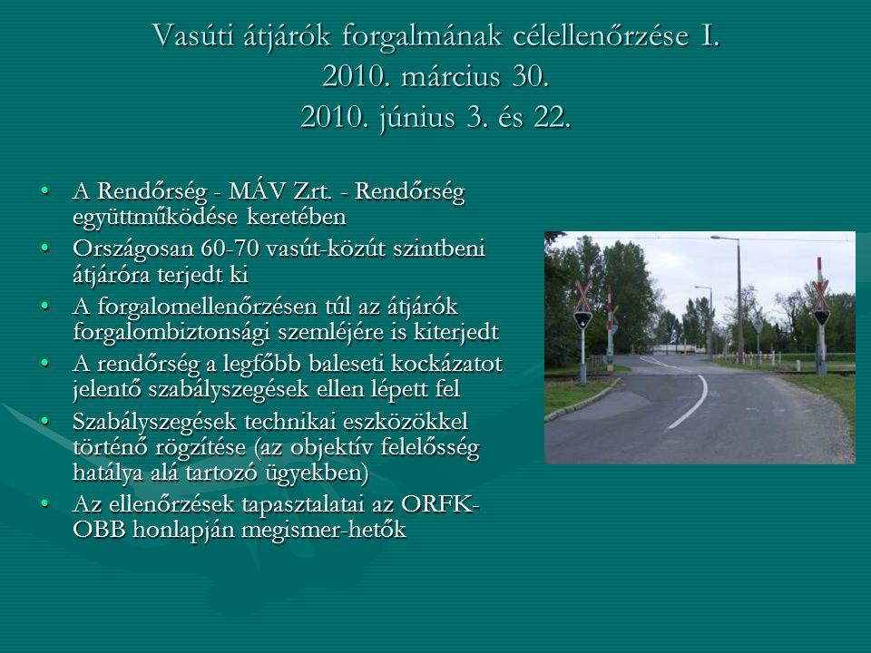 Vasúti átjárók forgalmának célellenőrzése I. 2010. március 30. 2010. június 3. és 22. A Rendőrség - MÁV Zrt. - Rendőrség együttműködése keretébenA Ren