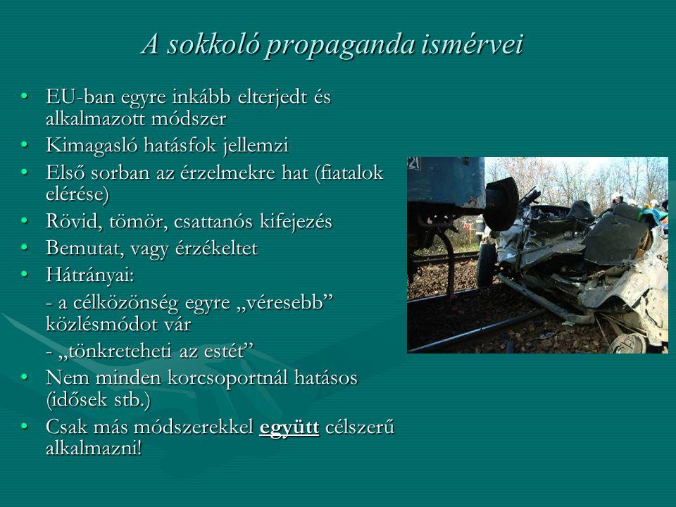 A sokkoló propaganda ismérvei EU-ban egyre inkább elterjedt és alkalmazott módszerEU-ban egyre inkább elterjedt és alkalmazott módszer Kimagasló hatás