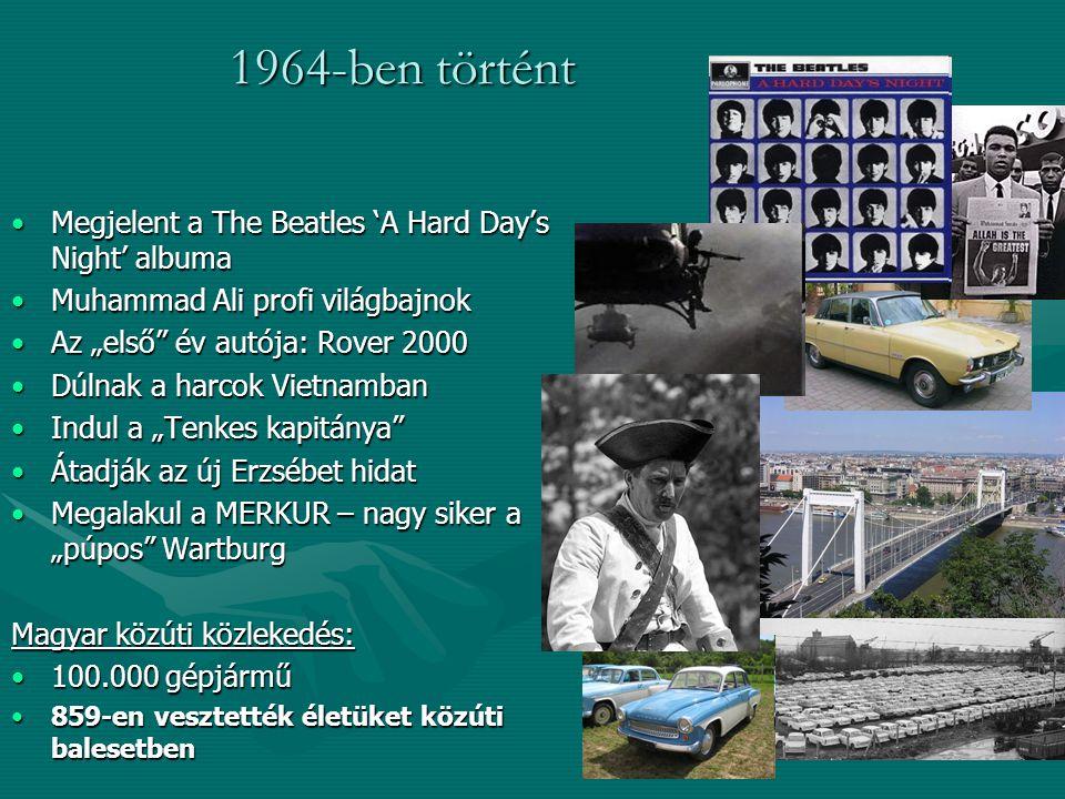 """1964-ben történt Megjelent a The Beatles 'A Hard Day's Night' albumaMegjelent a The Beatles 'A Hard Day's Night' albuma Muhammad Ali profi világbajnokMuhammad Ali profi világbajnok Az """"első év autója: Rover 2000Az """"első év autója: Rover 2000 Dúlnak a harcok VietnambanDúlnak a harcok Vietnamban Indul a """"Tenkes kapitánya Indul a """"Tenkes kapitánya Átadják az új Erzsébet hidatÁtadják az új Erzsébet hidat Megalakul a MERKUR – nagy siker a """"púpos WartburgMegalakul a MERKUR – nagy siker a """"púpos Wartburg Magyar közúti közlekedés: 100.000 gépjármű100.000 gépjármű 859-en vesztették életüket közúti balesetben859-en vesztették életüket közúti balesetben"""