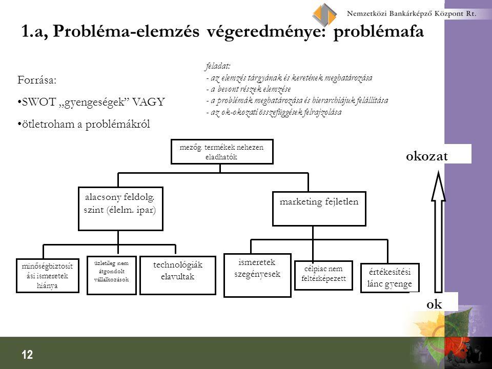 12 1.a, Probléma-elemzés végeredménye: problémafa feladat: - az elemzés tárgyának és keretének meghatározása - a bevont részek elemzése - a problémák