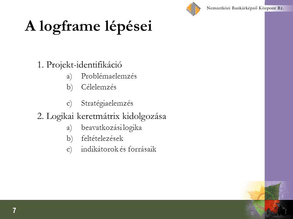 7 A logframe lépései 1. Projekt-identifikáció a)Problémaelemzés b)Célelemzés c)Stratégiaelemzés 2. Logikai keretmátrix kidolgozása a)beavatkozási logi