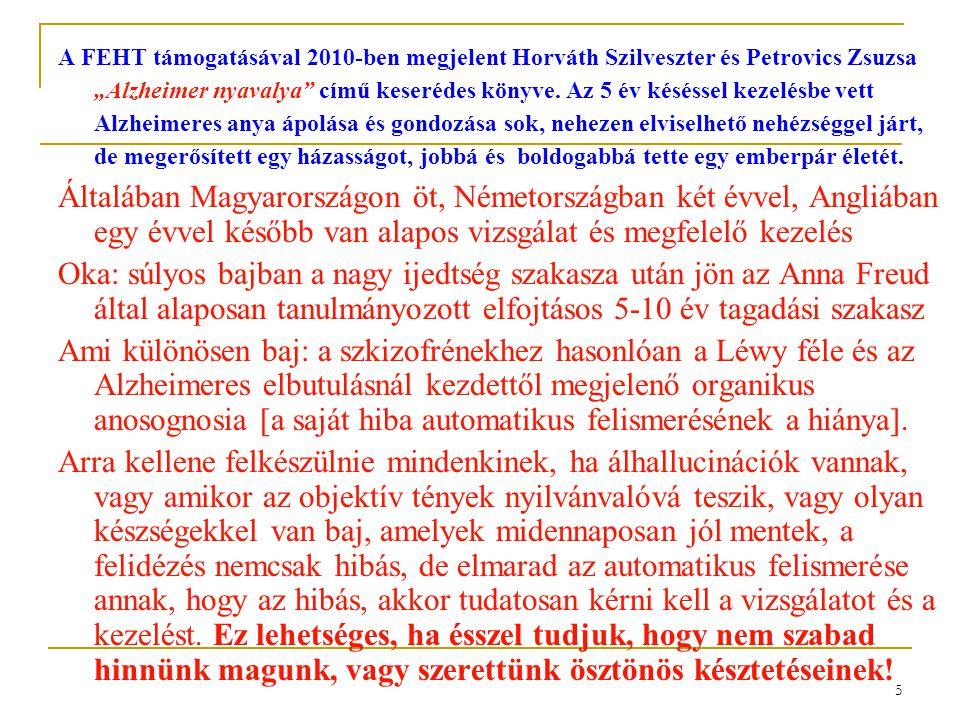 """5 A FEHT támogatásával 2010-ben megjelent Horváth Szilveszter és Petrovics Zsuzsa """"Alzheimer nyavalya"""" című keserédes könyve. Az 5 év késéssel kezelés"""