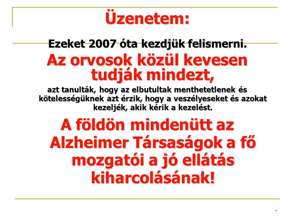 7 Üzenetem: Ezeket 2007 óta kezdjük felismerni. Az orvosok közül kevesen tudják mindezt, azt tanulták, hogy az elbutultak menthetetlenek és kötelesség