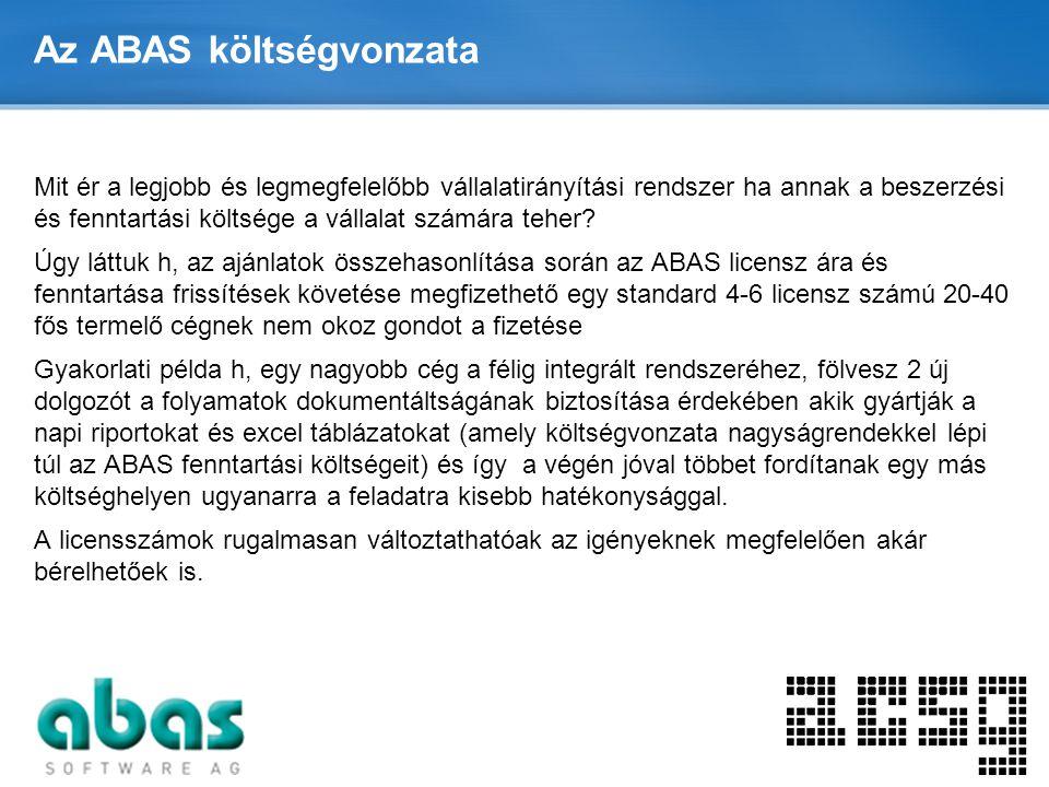 Page  10 Az ABAS költségvonzata Mit ér a legjobb és legmegfelelőbb vállalatirányítási rendszer ha annak a beszerzési és fenntartási költsége a vállal
