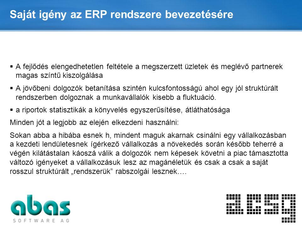 Page  7 Saját igény az ERP rendszere bevezetésére  A fejlődés elengedhetetlen feltétele a megszerzett üzletek és meglévő partnerek magas színtű kisz