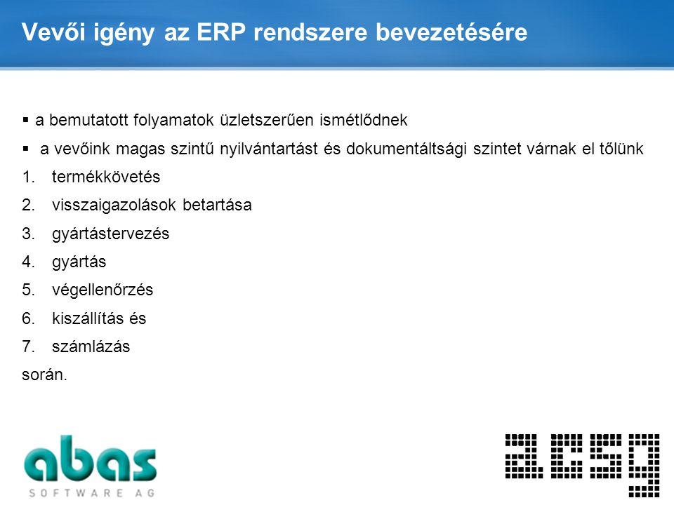 Page  8 Vevői igény az ERP rendszere bevezetésére  a bemutatott folyamatok üzletszerűen ismétlődnek  a vevőink magas szintű nyilvántartást és dokum
