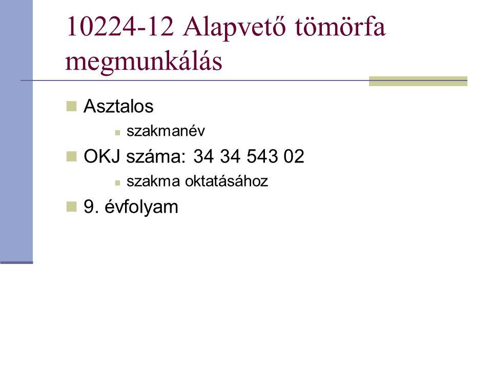 10224-12 Alapvető tömörfa megmunkálás Asztalos szakmanév OKJ száma: 34 34 543 02 szakma oktatásához 9. évfolyam