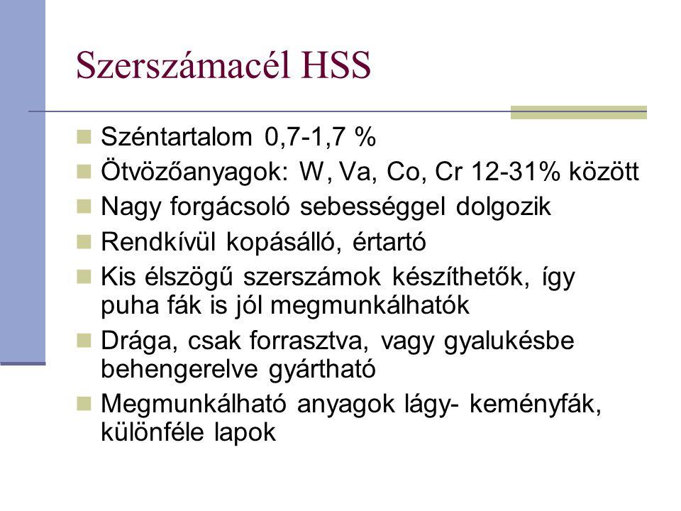 Szerszámacél HSS Széntartalom 0,7-1,7 % Ötvözőanyagok: W, Va, Co, Cr 12-31% között Nagy forgácsoló sebességgel dolgozik Rendkívül kopásálló, értartó K