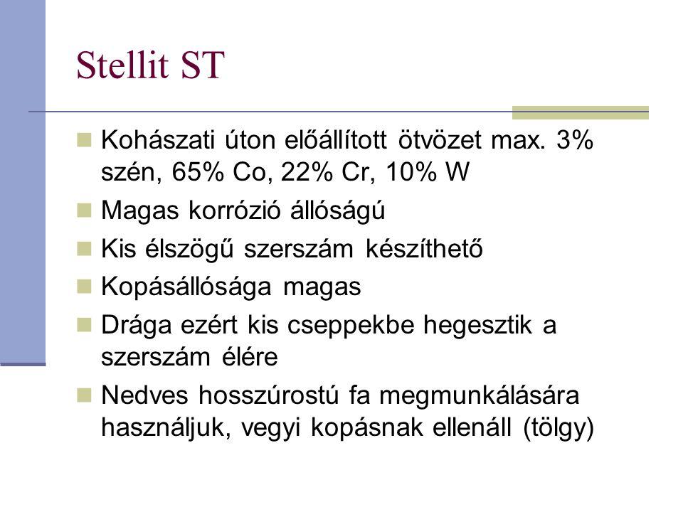 Stellit ST Kohászati úton előállított ötvözet max. 3% szén, 65% Co, 22% Cr, 10% W Magas korrózió állóságú Kis élszögű szerszám készíthető Kopásállóság