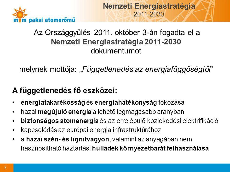 """Az Országgyűlés 2011. október 3-án fogadta el a Nemzeti Energiastratégia 2011-2030 dokumentumot melynek mottója: """"Függetlenedés az energiafüggőségtől"""""""