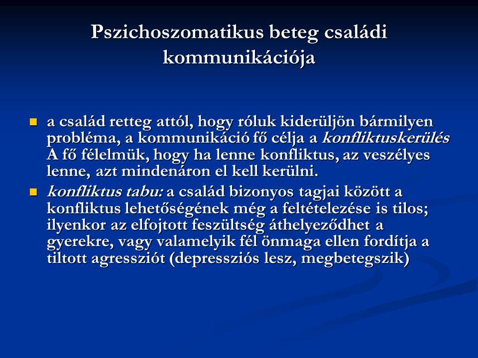 Pszichoszomatikus beteg családi kommunikációja a család retteg attól, hogy róluk kiderüljön bármilyen probléma, a kommunikáció fő célja a konfliktuske