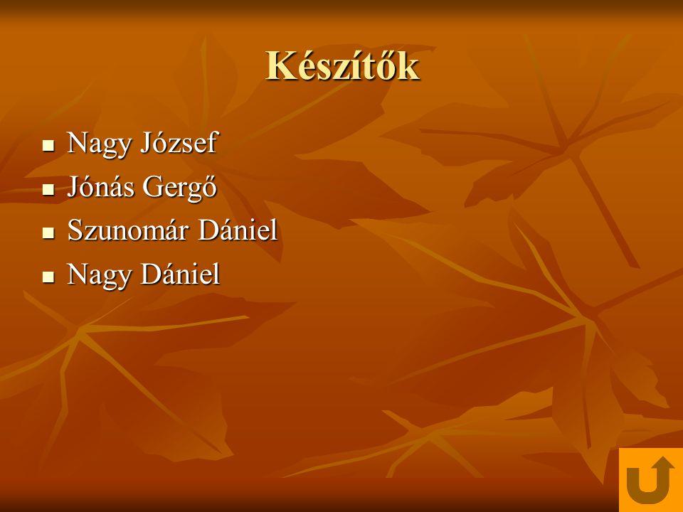 Készítők Nagy József Nagy József Jónás Gergő Jónás Gergő Szunomár Dániel Szunomár Dániel Nagy Dániel Nagy Dániel