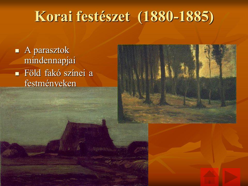 Korai festészet (1880-1885) A parasztok mindennapjai A parasztok mindennapjai Föld fakó színei a festményeken Föld fakó színei a festményeken