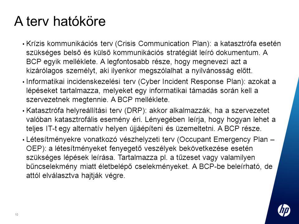 10 Footer Goes Here 10 A terv hatóköre Krízis kommunikációs terv (Crisis Communication Plan): a katasztrófa esetén szükséges belső és külső kommunikációs stratégiát leíró dokumentum.