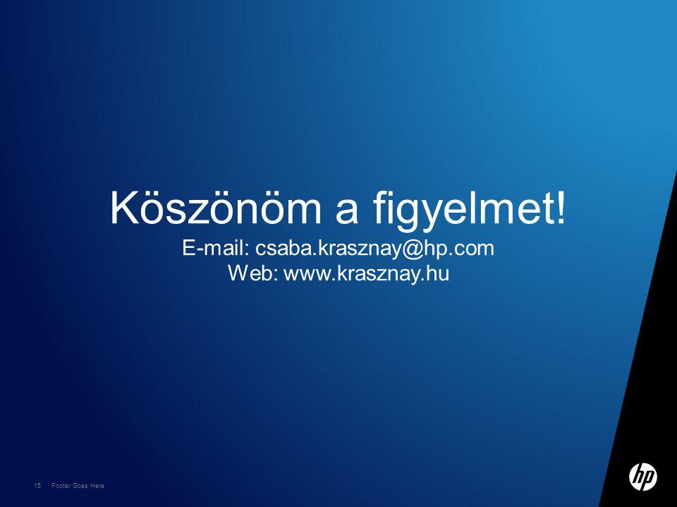 15 Footer Goes Here Köszönöm a figyelmet! E-mail: csaba.krasznay@hp.com Web: www.krasznay.hu