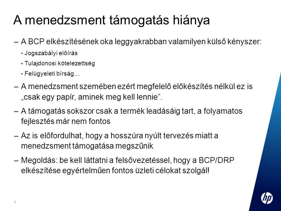 """3 Footer Goes Here 3 A menedzsment támogatás hiánya –A BCP elkészítésének oka leggyakrabban valamilyen külső kényszer: Jogszabályi előírás Tulajdonosi kötelezettség Felügyeleti bírság… –A menedzsment szemében ezért megfelelő előkészítés nélkül ez is """"csak egy papír, aminek meg kell lennie ."""