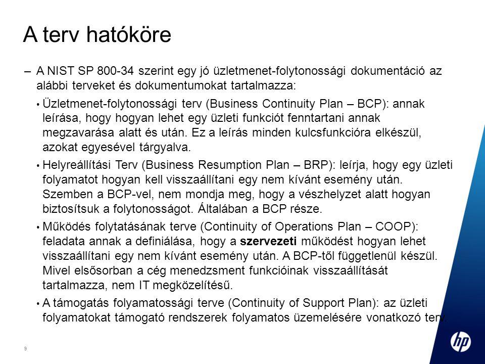 9 Footer Goes Here 9 A terv hatóköre –A NIST SP 800-34 szerint egy jó üzletmenet-folytonossági dokumentáció az alábbi terveket és dokumentumokat tartalmazza: Üzletmenet-folytonossági terv (Business Continuity Plan – BCP): annak leírása, hogy hogyan lehet egy üzleti funkciót fenntartani annak megzavarása alatt és után.