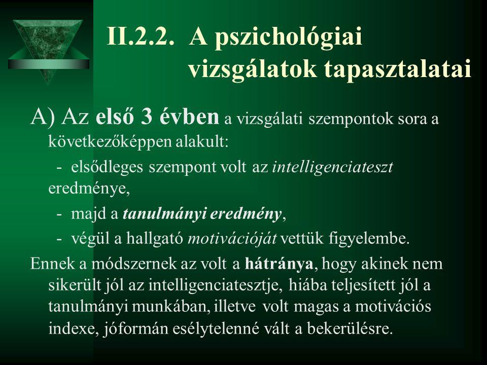 II.2.2. A pszichológiai vizsgálatok tapasztalatai A) Az első 3 évben a vizsgálati szempontok sora a következőképpen alakult: - elsődleges szempont vol