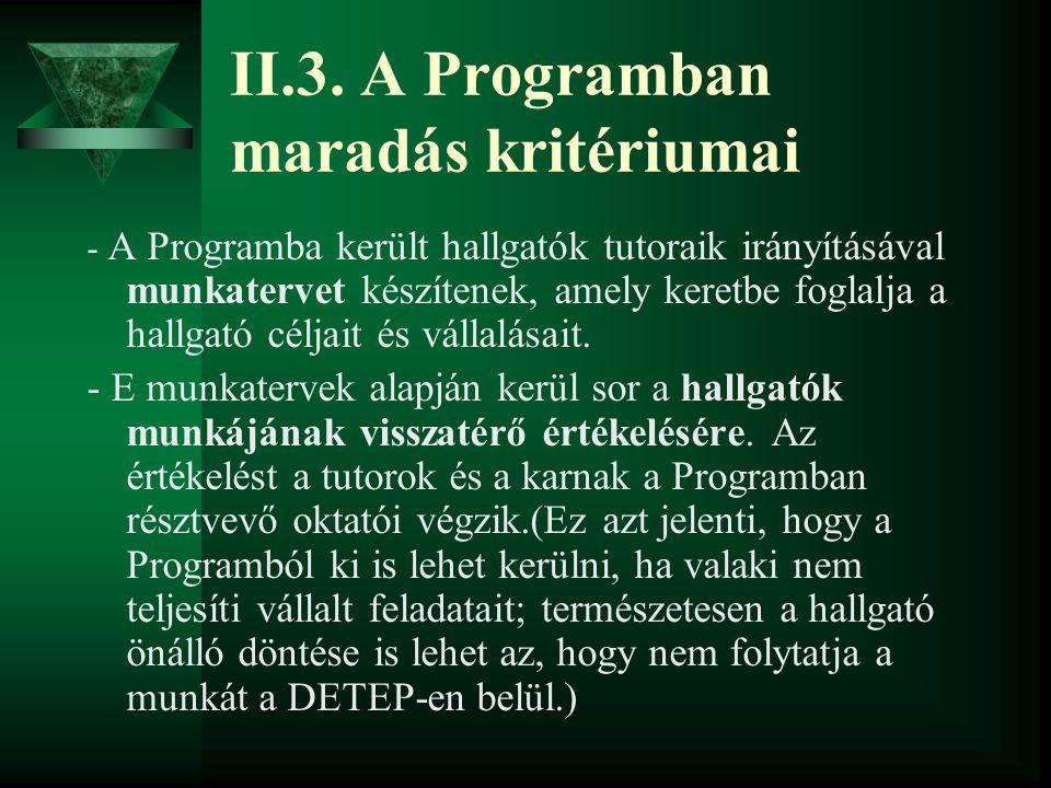 II.3. A Programban maradás kritériumai - A Programba került hallgatók tutoraik irányításával munkatervet készítenek, amely keretbe foglalja a hallgató