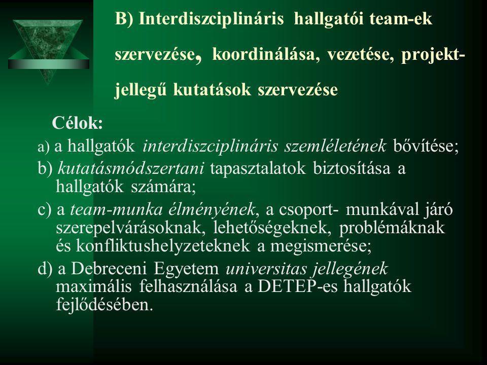 B) Interdiszciplináris hallgatói team-ek szervezése, koordinálása, vezetése, projekt- jellegű kutatások szervezése Célok: a) a hallgatók interdiszcipl
