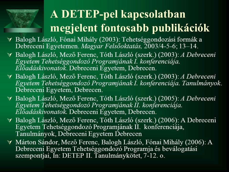 A DETEP-pel kapcsolatban megjelent fontosabb publikációk  Balogh László, Fónai Mihály (2003): Tehetséggondozási formák a Debreceni Egyetemen. Magyar