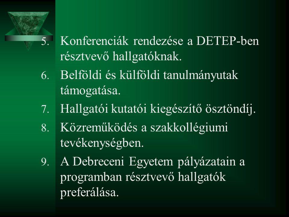 5. Konferenciák rendezése a DETEP-ben résztvevő hallgatóknak. 6. Belföldi és külföldi tanulmányutak támogatása. 7. Hallgatói kutatói kiegészítő ösztön