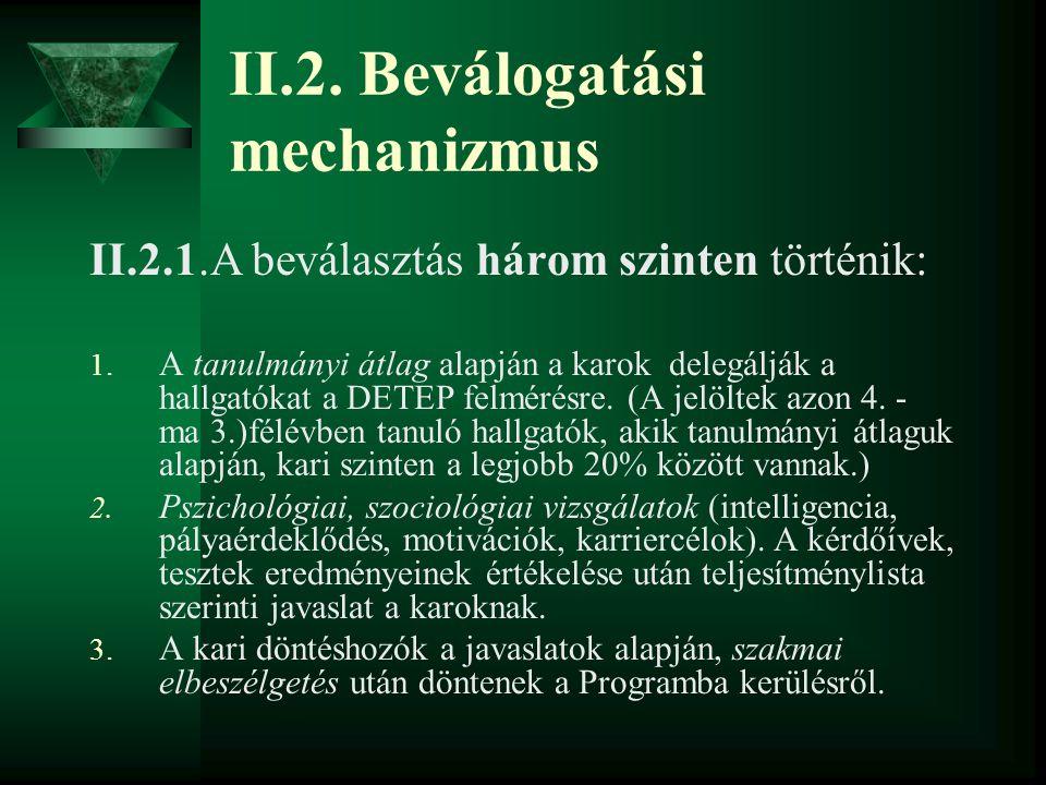 II.2. Beválogatási mechanizmus II.2.1.A beválasztás három szinten történik: 1. A tanulmányi átlag alapján a karok delegálják a hallgatókat a DETEP fel