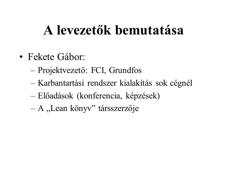 A levezetők bemutatása Fekete Gábor: –Projektvezető: FCI, Grundfos –Karbantartási rendszer kialakítás sok cégnél –Előadások (konferencia, képzések) –A