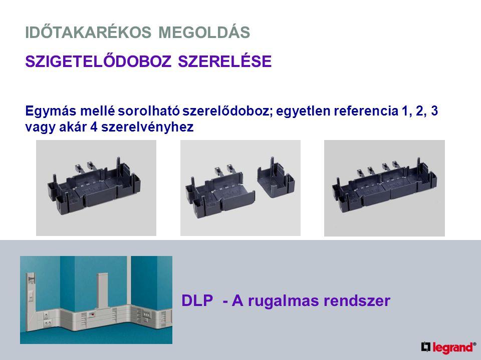 IDŐTAKARÉKOS MEGOLDÁS SZIGETELŐDOBOZ SZERELÉSE Egymás mellé sorolható szerelődoboz; egyetlen referencia 1, 2, 3 vagy akár 4 szerelvényhez DLP - A rugalmas rendszer