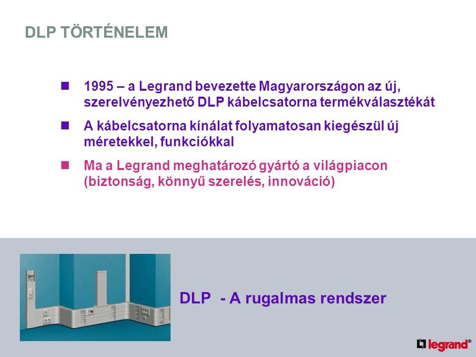DLP TÖRTÉNELEM 1995 – a Legrand bevezette Magyarországon az új, szerelvényezhető DLP kábelcsatorna termékválasztékát A kábelcsatorna kínálat folyamato