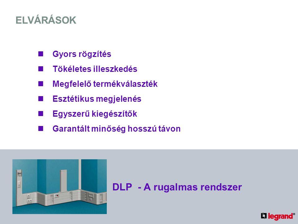 ELVÁRÁSOK Gyors rögzítés Tökéletes illeszkedés Megfelelő termékválaszték Esztétikus megjelenés Egyszerű kiegészítők Garantált minőség hosszú távon DLP - A rugalmas rendszer
