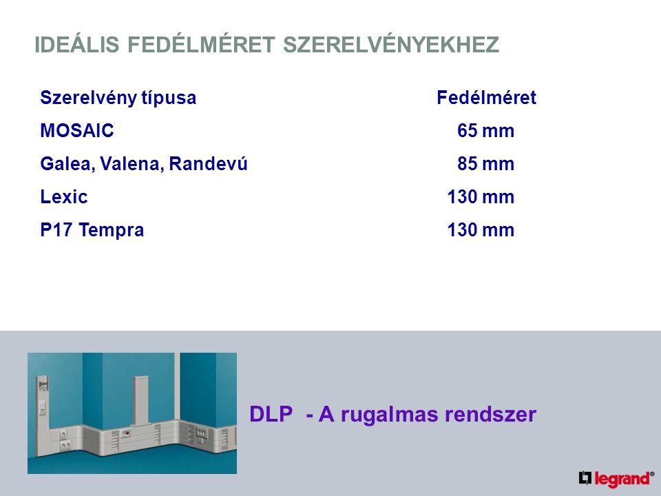 IDEÁLIS FEDÉLMÉRET SZERELVÉNYEKHEZ Szerelvény típusaFedélméret MOSAIC 65 mm Galea, Valena, Randevú 85 mm Lexic 130 mm P17 Tempra 130 mm DLP - A rugalmas rendszer
