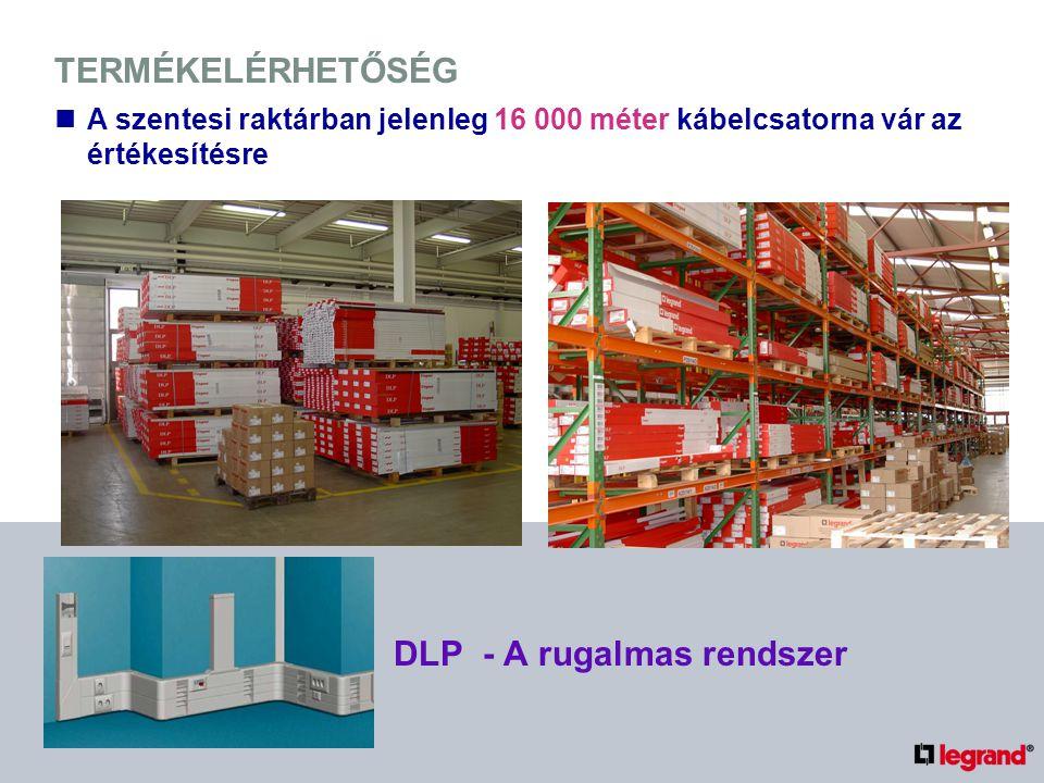 TERMÉKELÉRHETŐSÉG DLP - A rugalmas rendszer A szentesi raktárban jelenleg 16 000 méter kábelcsatorna vár az értékesítésre