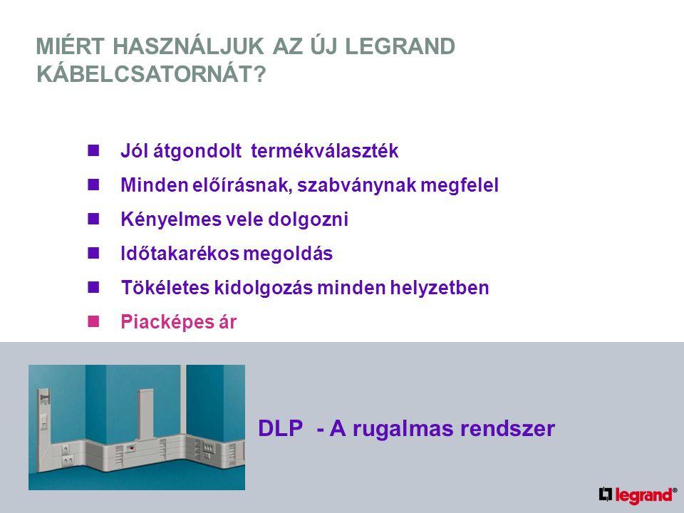 IDŐTAKARÉKOS MEGOLDÁS GYORS RÖGZÍTÉS Legrand rögzítőpatentek beütése az előre kifúrt nyílásokba DLP - A rugalmas rendszer