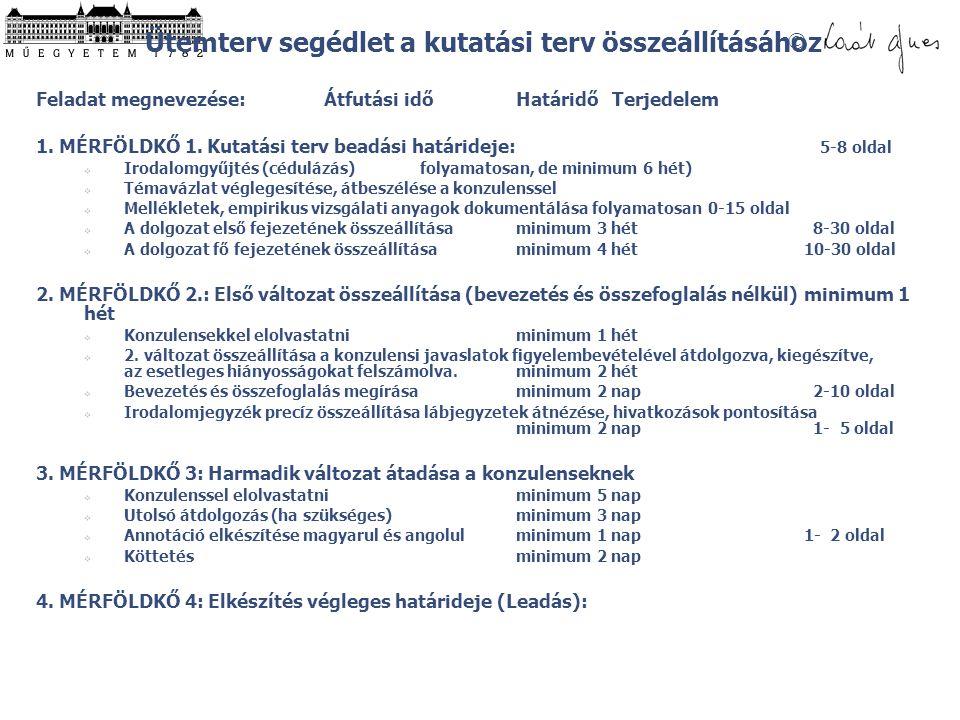 © Ütemterv segédlet a kutatási terv összeállításához Feladat megnevezése:Átfutási időHatáridőTerjedelem 1. MÉRFÖLDKŐ 1. Kutatási terv beadási határide