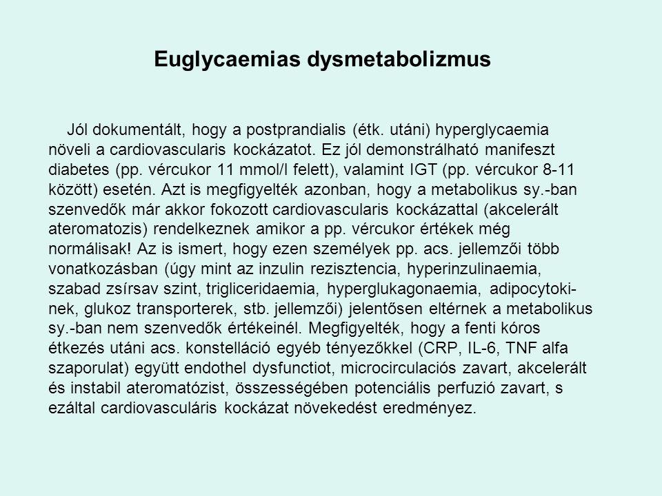 Euglycaemias dysmetabolizmus Jól dokumentált, hogy a postprandialis (étk. utáni) hyperglycaemia növeli a cardiovascularis kockázatot. Ez jól demonstrá