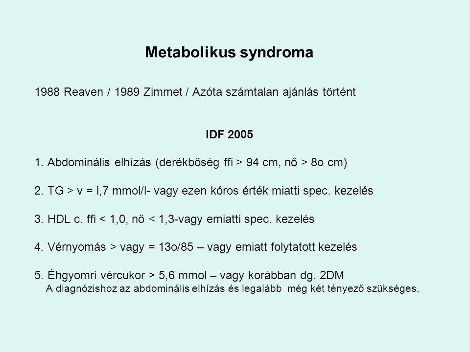 1988 Reaven / 1989 Zimmet / Azóta számtalan ajánlás történt IDF 2005 1. Abdominális elhízás (derékbőség ffi > 94 cm, nő > 8o cm) 2. TG > v = l,7 mmol/
