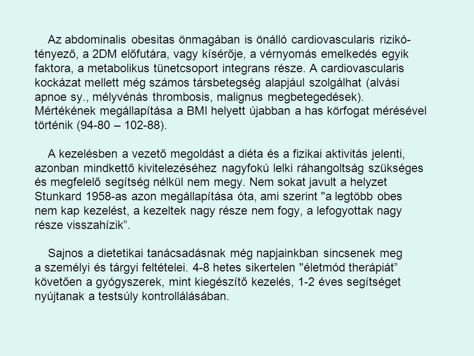 Az abdominalis obesitas önmagában is önálló cardiovascularis rizikó- tényező, a 2DM előfutára, vagy kísérője, a vérnyomás emelkedés egyik faktora, a m