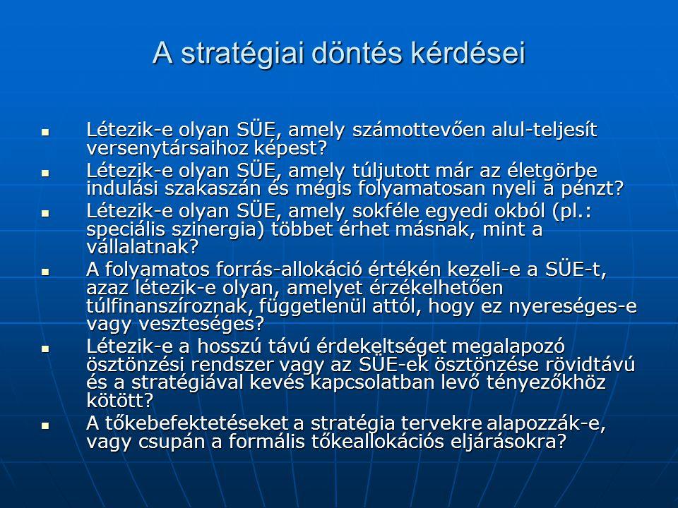 A stratégiai döntés kérdései Létezik-e olyan SÜE, amely számottevően alul-teljesít versenytársaihoz képest? Létezik-e olyan SÜE, amely számottevően al