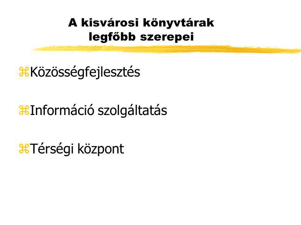 A kisvárosi könyvtárak legfőbb szerepei zKözösségfejlesztés zInformáció szolgáltatás zTérségi központ