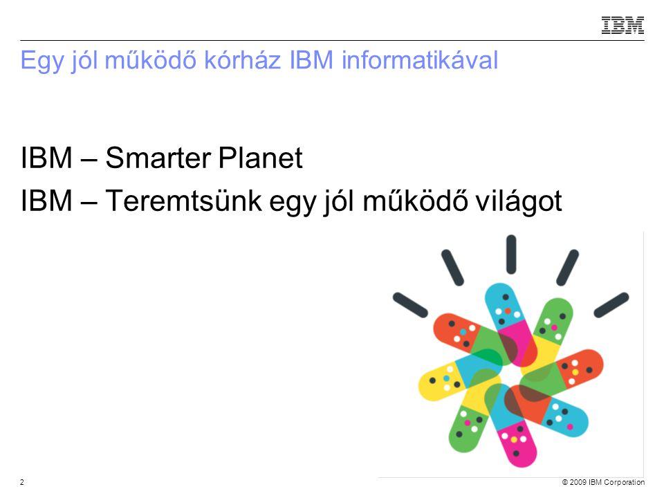 © 2009 IBM Corporation2 Egy jól működő kórház IBM informatikával IBM – Smarter Planet IBM – Teremtsünk egy jól működő világot Source:If applicable, describe source origin