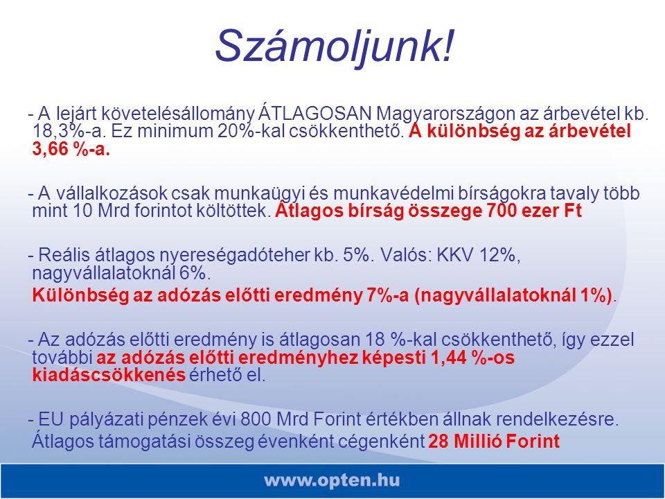 Számoljunk! - A lejárt követelésállomány ÁTLAGOSAN Magyarországon az árbevétel kb. 18,3%-a. Ez minimum 20%-kal csökkenthető. A különbség az árbevétel