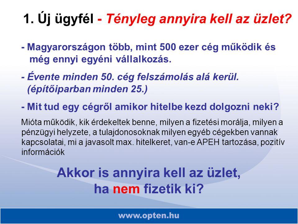 - Magyarországon több, mint 500 ezer cég működik és még ennyi egyéni vállalkozás. - Évente minden 50. cég felszámolás alá kerül. (építőiparban minden