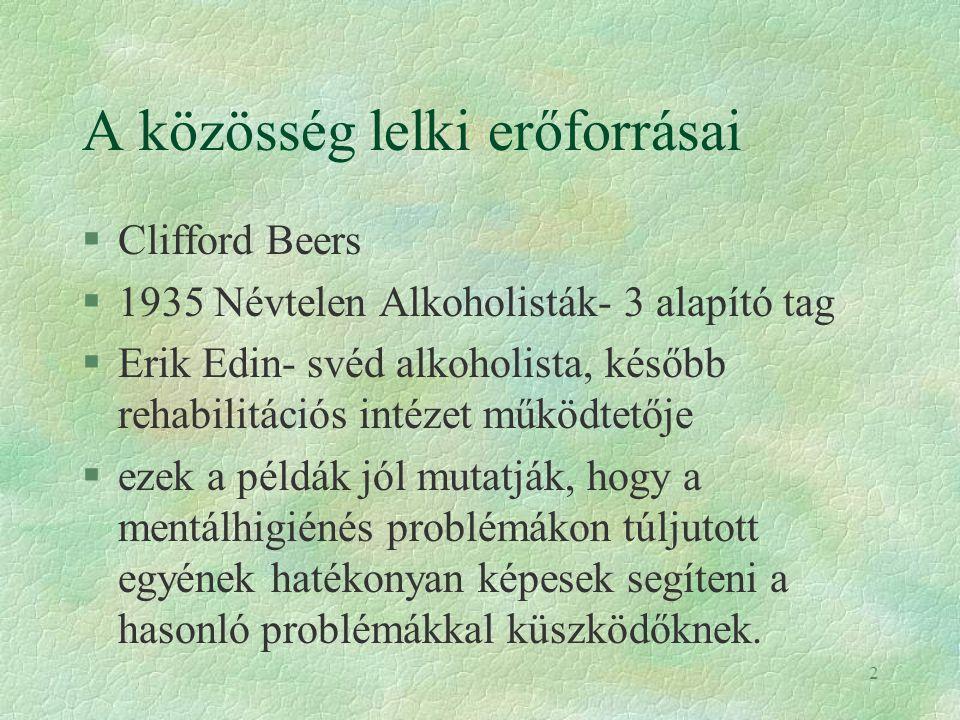 2 A közösség lelki erőforrásai §Clifford Beers §1935 Névtelen Alkoholisták- 3 alapító tag §Erik Edin- svéd alkoholista, később rehabilitációs intézet