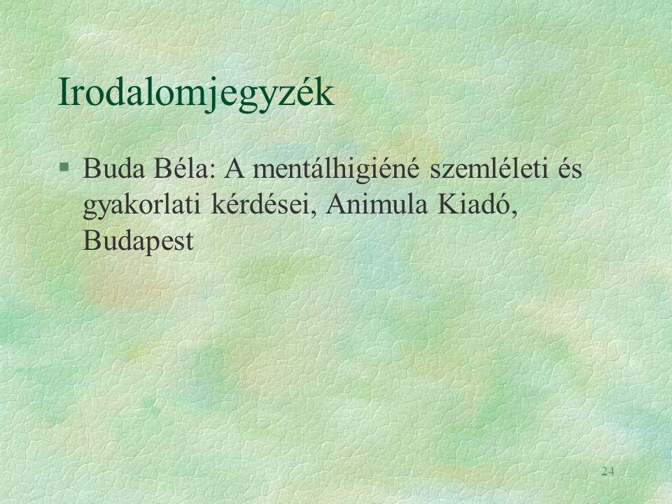 24 Irodalomjegyzék §Buda Béla: A mentálhigiéné szemléleti és gyakorlati kérdései, Animula Kiadó, Budapest