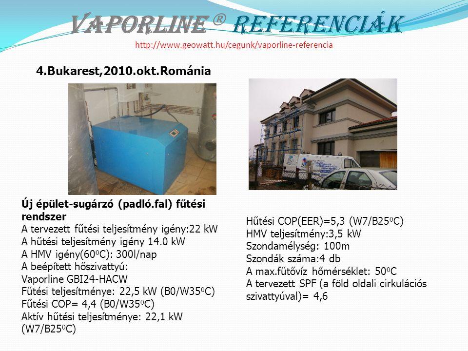 Vaporline  Referenciák http://www.geowatt.hu/cegunk/vaporline-referencia Új épület-sugárzó (padló.fal) fűtési rendszer A tervezett fűtési teljesítmény igény:22 kW A hűtési teljesítmény igény 14.0 kW A HMV igény(60 0 C): 300l/nap A beépített hőszivattyú: Vaporline GBI24-HACW Fűtési teljesítménye: 22,5 kW (B0/W35 0 C) Fűtési COP= 4,4 (B0/W35 0 C) Aktív hűtési teljesítménye: 22,1 kW (W7/B25 0 C) Hűtési COP(EER)=5,3 (W7/B25 0 C) HMV teljesítmény:3,5 kW Szondamélység: 100m Szondák száma:4 db A max.fűtővíz hőmérséklet: 50 0 C A tervezett SPF (a föld oldali cirkulációs szivattyúval)= 4,6 4.Bukarest,2010.okt.Románia