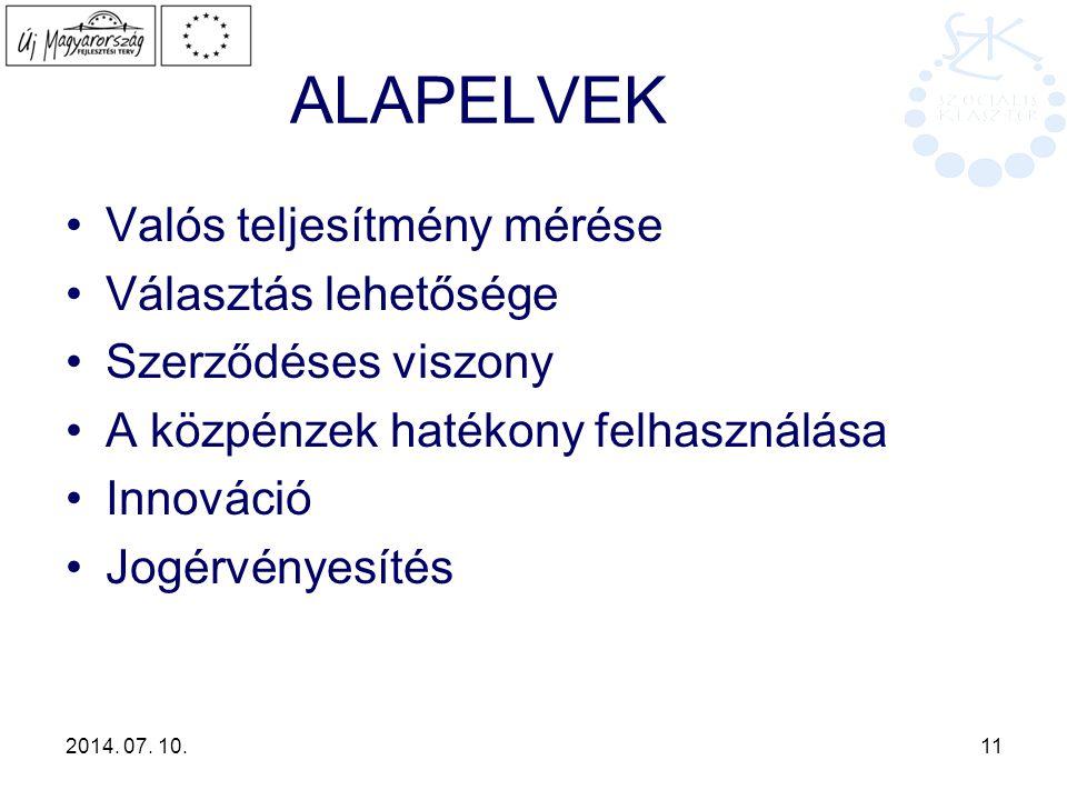 2014. 07. 10. 11 ALAPELVEK Valós teljesítmény mérése Választás lehetősége Szerződéses viszony A közpénzek hatékony felhasználása Innováció Jogérvényes