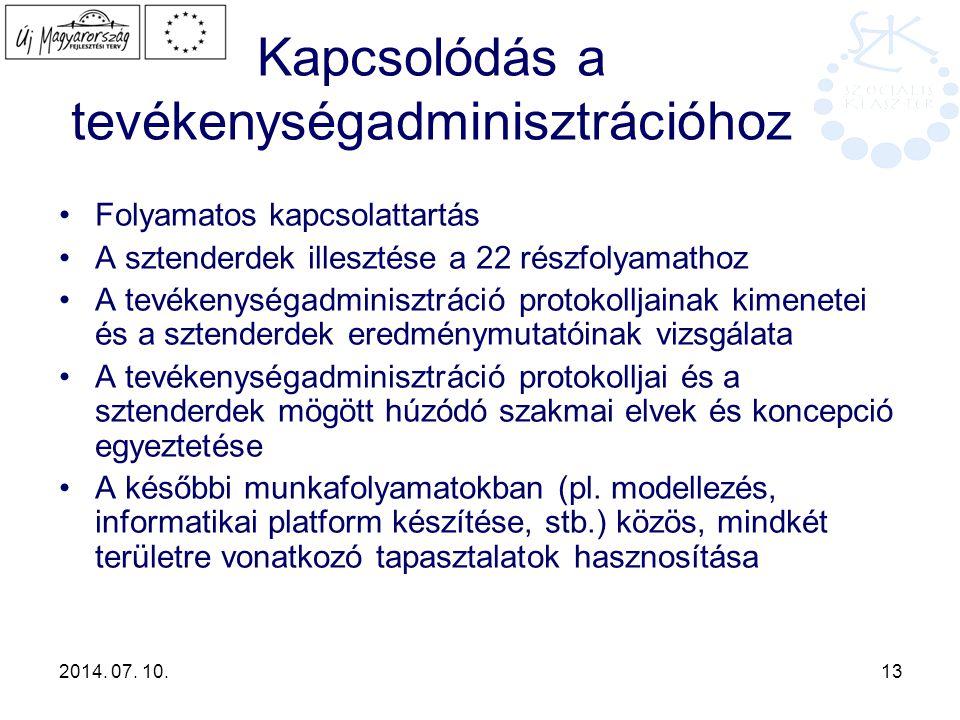 2014. 07. 10. 13 Kapcsolódás a tevékenységadminisztrációhoz Folyamatos kapcsolattartás A sztenderdek illesztése a 22 részfolyamathoz A tevékenységadmi